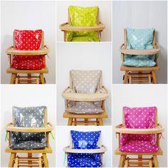 """Créer votre coussin de chaise haute """"caprice d'étoiles"""" en toile cirée avec 12 liens. : Puériculture par feutrinelope"""
