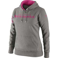 Nike Seattle Seahawks Ladies Breast Cancer Awareness Tailgater Pullover Hoodie Sweatshirt - Ash