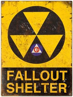 This Fallout Shelter Rusted Metal Sign makes a fun addition to a man cave, home bar, or dorm room. A great way to up the nuclear style in any room, this 24 gauge steel sign is perfect for fans of the atomic age. 12 x made in the USA. Vinyl Decals, Wall Decals, Military Signs, Distressed Walls, Post Rock, Thing 1, Vintage Metal Signs, Atomic Age, Steel Metal