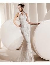 Aufgefallenes Bodenlanges Hochzeitskleid aus Spitze