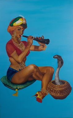 """The women in her paintings have a strong gaze. """"Looking back and talking back are considered very unlady-like and heavily discouraged in our community,"""" she says. 