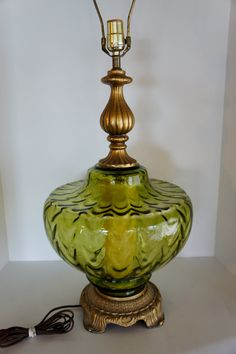 Vintage Table Lamp Green Glass Accent Nightlight By Gleaned, $70.00