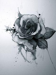rose Rose Tattoos, Flower Tattoos, Body Art Tattoos, Tatoos, Tattoo Cover Up, Black Aesthetic Wallpaper, Call Art, Sketch Inspiration, Flash Art