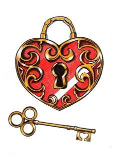 Heart locket by Locket Tattoos, Key Tattoos, Tattoo Key, Tatoos, Cute Drawings Of Love, Cool Art Drawings, Tattoo Sketches, Tattoo Drawings, Logo Caballo