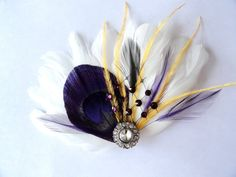 IVY White and Purple, Gold, and Black Peacock Feather and Crystal Veil Hair Clip, Feather Fascinator, Bridal Hair Piece
