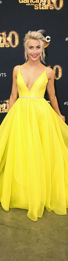 "LEANNE MARSHALL • The Gabrielle Collection • In Bright Yellow • As Worn by Julianne Hough, Judge on ""Dancing with the Stars"" • S/S 2016."