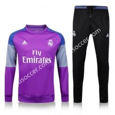 2016-17 Real Madrid Round Collar Purple and Black Thailand Soccer Tracksuit