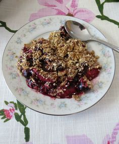 Stove Top Berry Crumble - Warmed strawberries and blueberries topped with a toasted oat flour.