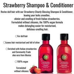 The Body Shop Logo, Strawberry Shampoo, Body Shop Skincare, Body Shop At Home, Dull Hair, Shampoo And Conditioner, Shop Ideas, Beauty Skin, Hair Care