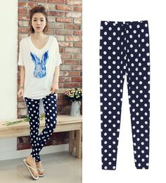 Womens Polka Dots Leggings Cute Girls Waistband Tights Pantyhose Navy Blue White