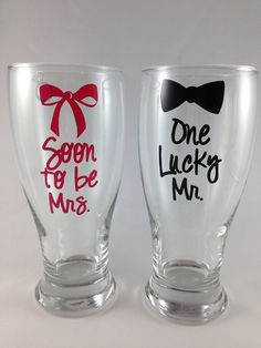 Glass Set: Personalized Engagement Gift, Bridal Shower Gift, Engagement Party Gift, Soon to be Mrs in Hot Pink, one lucky mr on Etsy, $24.00