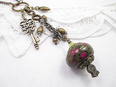 Long Upcycled Necklace Mixed Media Charm by LittleBitsOFaith, $30.00