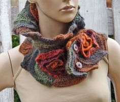Unique Crochet scarf Scarf - Capelet / Neck Warmer Brown/ Green/ Orange/Chunky Knit - Freeform Crochet - one of a kind