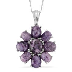 Liquidation Channel: Siberian Charoite Pendant with Chain (20 in) in Platinum Overlay Sterling Silver (Nickel Free)