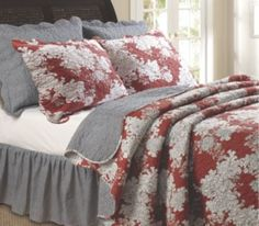 Greenland Home Fashions Lorraine Quilt Set Full/Queen New Red Floral Print Decor, Furniture, Cottage Chic, Home, Home Bedroom, Greenland Home Fashions, Bed, Bedroom Decor, Bedding Sets