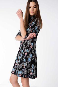 DeFacto Siyah Kadın Desenli Kısa Elbise 1