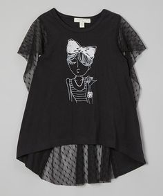 Another great find on #zulily! Black Swiss Dot Fancy Lady Top - Girls by Richie House #zulilyfinds