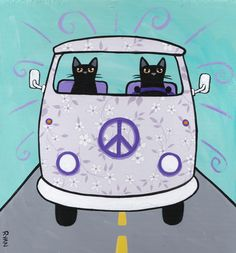 Cat Folk Art - Artist: Ryan Conners, Pittsburgh, PA, USA - Floral VW Peace Bus (purple)