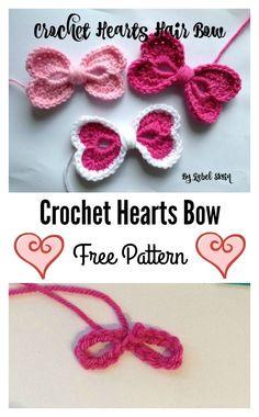 8 Heart Free Crochet Patterns You'll Love Crochet Hearts Bow Free Pattern Free Heart Crochet Pattern, Love Crochet, Crochet Motif, Diy Crochet, Crochet Crafts, Crochet Flowers, Crochet Stitches, Crochet Projects, Crochet Dolls