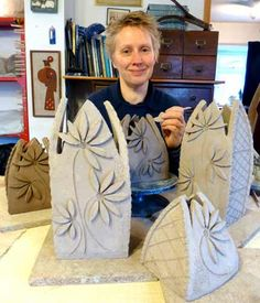 Cathedral Daisy vases by Maggie Betley