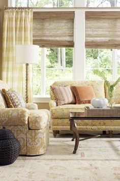 bamboo blinds & drapes in the living room