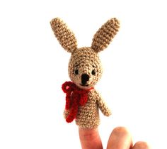 $21.84 bunny finger puppet, crochet puppet, kawaii rabbit pretend play, Easter gift for children, cute amigurumi bunny, play #puppettheatre, handmade by crochAndi