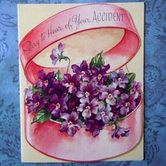 Vintage Get Well Greeting Card Old Fashioned Hat Box Filled with Flowers