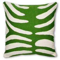 Masters - Modern Throw Pillows | Green Zebra Woven Cotton Pop Throw Pillow | Jonathan Adler