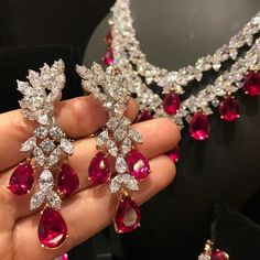 #alandJewellery. Diamonds and Rubies Earrings