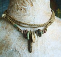 Lovely special Necklace choker Artisan Braided Hemp Sewn Clay by greybirdstudio, $145.00