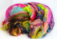 Hand Carded Art Batt, merino wool blend with neon and wool locks, Spinning Fiber - 222Handspun.com