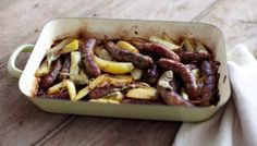 BBC Food - Recipes - Fennel sausages braised with lemony potatoes and bay leaves