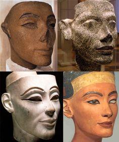 Different portrayals of Egyptian queen Nefertiti.