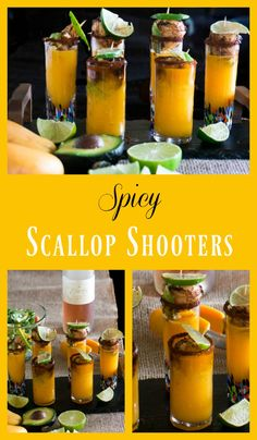 Spicy Scallop Shooter combines a spicy, tropical mango margarita with a seared scallop in a perfect little sip and bite!