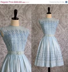 Pale Blue 1950s Eyelet Dress by $72 SassySisterVintage