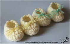 Mamma That Makes: Mini Gathered Flats - Crocheted Preemie Booties
