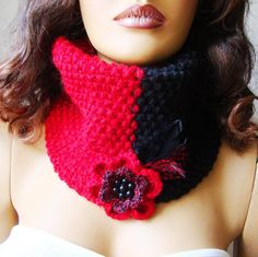 Knitted Black And Red Neckwarmer Chunky Scarf Cowl Flower by Pasin