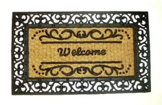 Welcome Damask Scroll Rectangle - Grill Mat with Coir Matting Heavy Duty Outdoor Premium Coir and Rubber Brush Mat 18x30 by Iron Gate - Extremely durable with strong rubber backing - Grips the ground and prevents skidding - Traps dust - Welcome your guests with this high quality doormat by Iron Gate. $15.99. Care: To clean your coir mat simply shake the rug to clean it, or you can choose to hose or scrub it.. These extremely durable mats will keep their appearance for a long t...