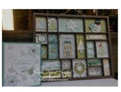 Seasonal Printers Tray! www.craftprojectcentral.com This Christmas Printers Tray and matching card would make a unique gift, that will be used year-after-year for someone special on your list. The colors – Lost Lagoon, Soft Sky, Smoky Slake and Pear Pizazz – go together to capture the image of a silent, snowy night.