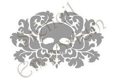 STENCIL-SE0020-Skull-and-Damask-Stencil-Wall-Art-Reusable