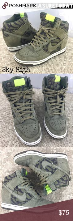 Rare 🍃 Nike Green Sky High Hidden Wedge Sneakers My favorite! Unfortunately I have to sell these because of a recent ankle unjustly- I won't be able to wear these anymore. My loss-your gain. The most comfortable shoes! Great condition, just need a cleaning. No box . Bundle 2 or more items to get %10 off 💖 PRICE FIRM UNLESS BUNDLED. Nike Shoes Wedges