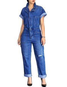 Short Sleeve Buttoned Front Blue Causal Denim Jumpsuit