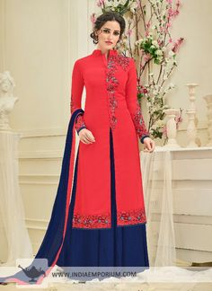 Exuberant Georgette Red & #Royal #Blue #Embroidered #Palazzo #Suit