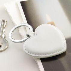 white leather heart keyring
