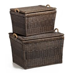 Amazon.com - The Basket Lady Lift-off Lid Wicker Storage Basket, Large, Antique Walnut Brown -