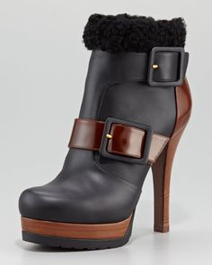9798db0adda Fendi Moorland Shearling-Trim High-Heel Bootie