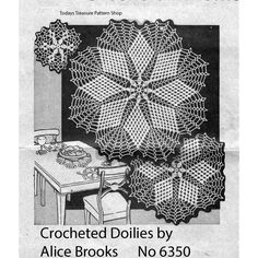 Crochet Pattern for Star Doilies in 2 sizes each of Small, Medium, Large.  Alice Brooks 6350, a Mail Order Design.