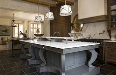 Find Best Kitchen Island Design Ideas For Modern Kitchen : Cozy Kitchen Island Design Ideas With Three Pendant Lamp And Also Ceramic Tiles F. Deco Design, Küchen Design, Design Ideas, Beautiful Kitchens, Cool Kitchens, Small Kitchens, White Kitchens, Home Design, Interior Design