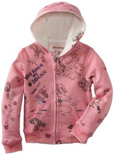 True Religion Girls 2-6X Hand Drawn Classic Hoodie, Fuschia, XS True