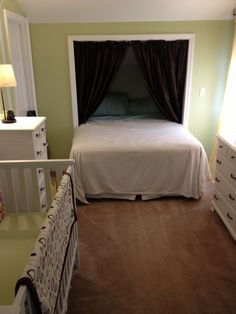 Another way of bed in closet; with curtains, bed potentially feels more day-bed-like